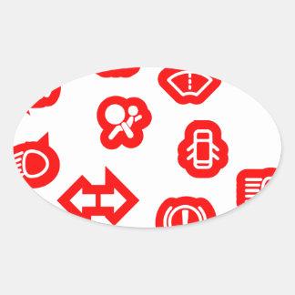 Vehicle Dash Warning Symbols Oval Sticker