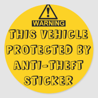 VEHICLE PROTECTED BY ANTI-THEFT STICKER