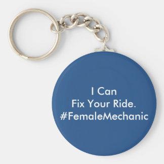 Vehicle Repair Female Mechanic Basic Round Button Keychain