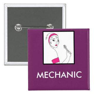 Vehicle Repair Female Mechanic Pinback Buttons