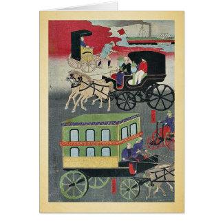 Vehicular traffic in Tokyo by Utagawa Yoshitora Greeting Card