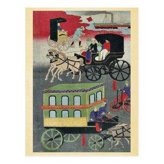 Vehicular traffic in Tokyo by Utagawa, Yoshitora Postcards