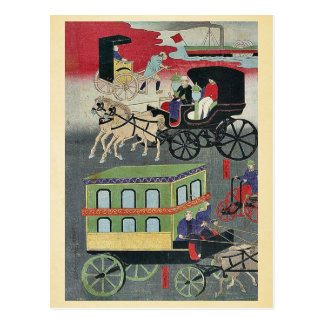 Vehicular traffic in Tokyo by Utagawa, Yoshitora Postcard