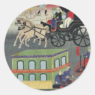 Vehicular traffic in Tokyo by Utagawa, Yoshitora Round Sticker