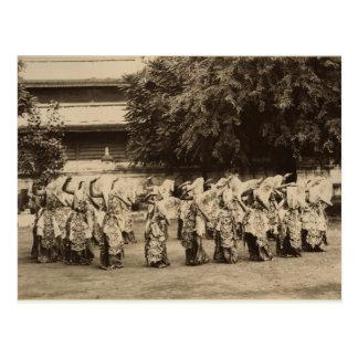 Veiled dancers at Mandalay, Burma Postcard