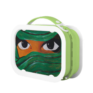 Veiled woman in dark green lunch box