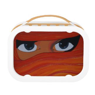 Veiled woman in orange lunch boxes