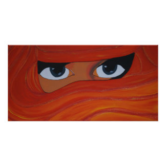 Veiled woman in orange photo print