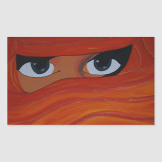 Veiled woman in orange sticker