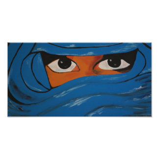 Veiled woman into blue photo print