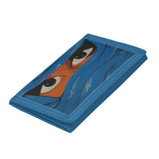 Veiled woman into blue trifold wallets