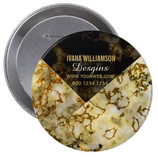 Veining Marbleized Cracked Gold Professional 4 Inch Round Button