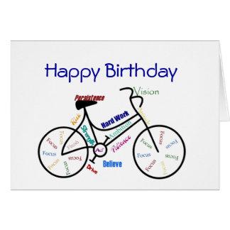 Vélo drôle d'anniversaire d'âge, faisant un cycle, cartes de vœux