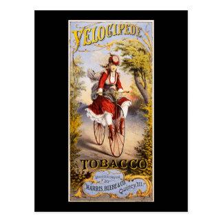 Velocipede tobacco postcard