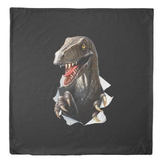 Velociraptor Dinosaur (1 side) Queen Duvet Cover