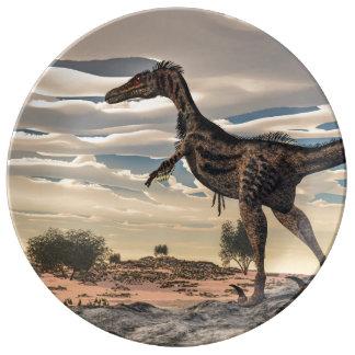 Velociraptor dinosaur - 3D render Porcelain Plate