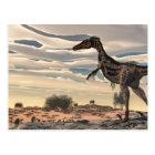 Velociraptor dinosaur - 3D render Postcard