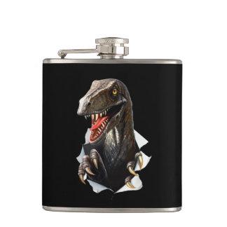 Velociraptor Dinosaur 6 oz Vinyl Wrapped Flask