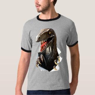 Velociraptor Dinosaur Dark Ringer T-Shirt