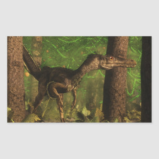 Velociraptor dinosaur in the forest