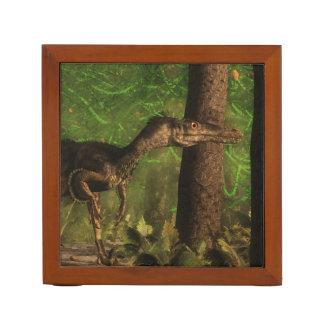 Velociraptor dinosaur in the forest desk organizer