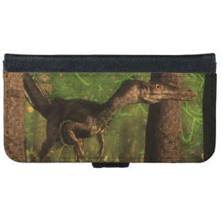 Velociraptor dinosaur in the forest iPhone 6 wallet case