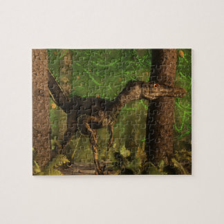 Velociraptor dinosaur in the forest jigsaw puzzle
