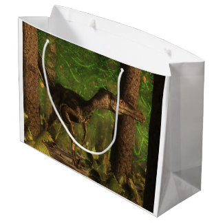 Velociraptor dinosaur in the forest large gift bag