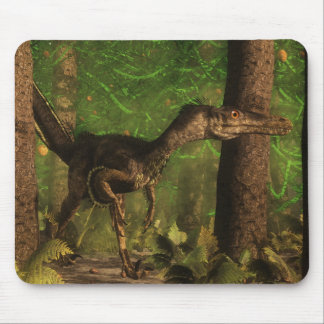 Velociraptor dinosaur in the forest mouse pad