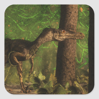 Velociraptor dinosaur in the forest square sticker