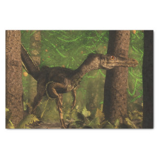 Velociraptor dinosaur in the forest tissue paper
