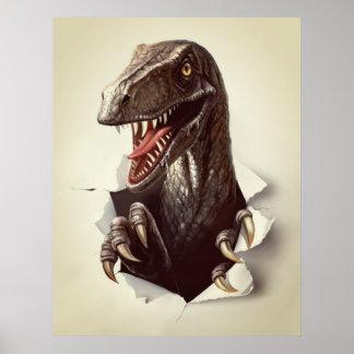 Velociraptor Dinosaur Poster