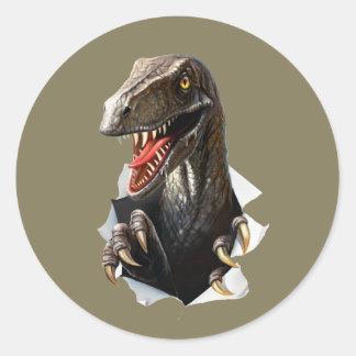 Velociraptor Dinosaur Round Stickers