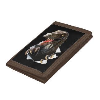 Velociraptor Dinosaur TriFold Nylon Wallet