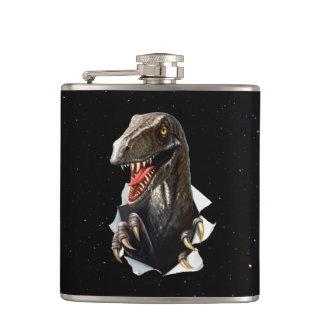 Velociraptor in Space 6 oz Vinyl Wrapped Flask