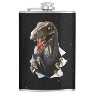 Velociraptor in Space 8 oz Vinyl Wrapped Flask