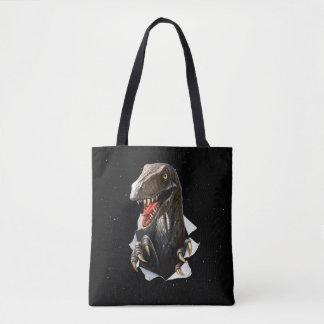 Velociraptor in Space All-Over-Print Tote Bag