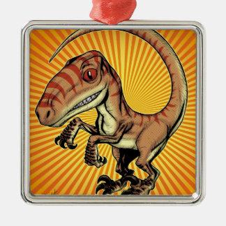 Velociraptor Raptor Dinosaur by Marco D Carillo Silver-Colored Square Ornament