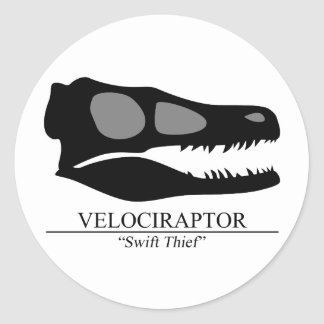 Velociraptor Skull Classic Round Sticker