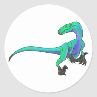 Velociraptor, The High Velocity Predator.Version 3 Classic Round Sticker