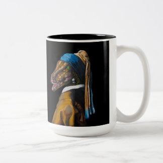 Velociraptor with a Pearl Earring Two-Tone Coffee Mug