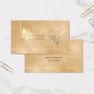 Velvet Creamy Foxier Gold Ivory Floral Metallic Business Card