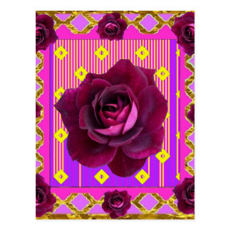 Velvet Purple Rose Gypsy Style Pattern Postcard