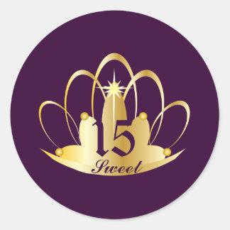 Velvet Purple Sweet 15 Tiara Sticker-Customize Round Sticker