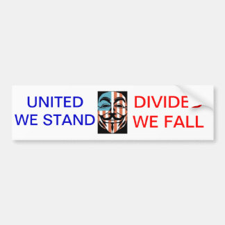 vendetta america mask, UNITED WE STAND, DIVIDED... Bumper Sticker