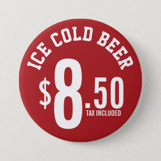 Vendor Concession Supplies - Ice Cold Beer Seller 3 Inch Round Button