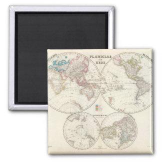 Venerable World Map 9 Square Magnet