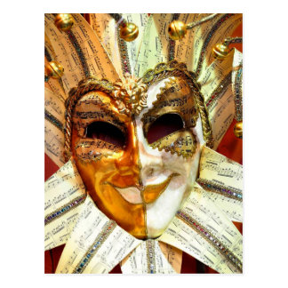 Venetian Carnival Jester Mask with Bells Postcard