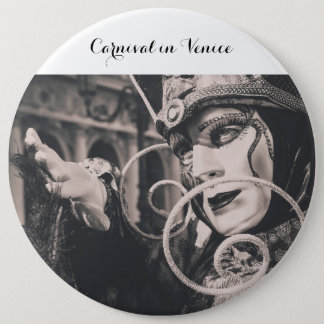 Venetian carnival mask 6 inch round button