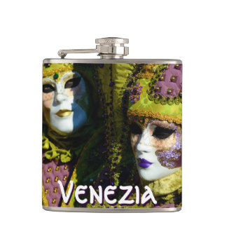 Venetian Couple With Carnival Masks Flask